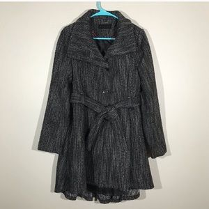 Steve Madden Tweed Black And White Trench Coat M